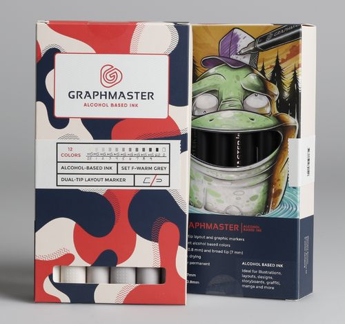 Graphmaster - Grafikmarker 12er Set F (Warm Grey)