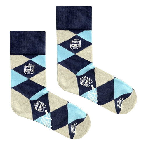 Traffx - REGIO EN-57 Checked Socken (navy  / beige-light blue) ***LOCK DOWN***