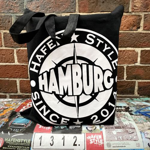 Hafenstyle - Hamburg Nautic Logo Cotton Bag (black)
